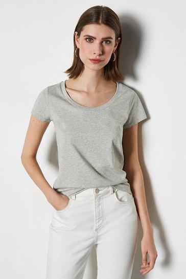 Grey marl Scoop Neck Short Sleeve T-Shirt