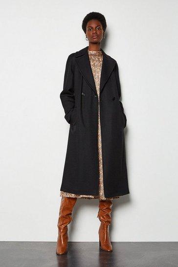 Black Twill Wrap Coat