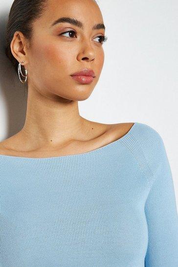 Pale blue 3/4 Sleeve Fine Knit Jumper