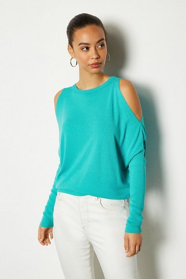 Aqua Cold Shoulder Fine Gauge Knit Jumper