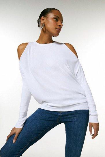 White Cold Shoulder Fine Gauge Knit Jumper