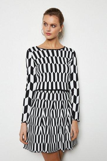 Blackwhite Geometric Print Knitted Skirt