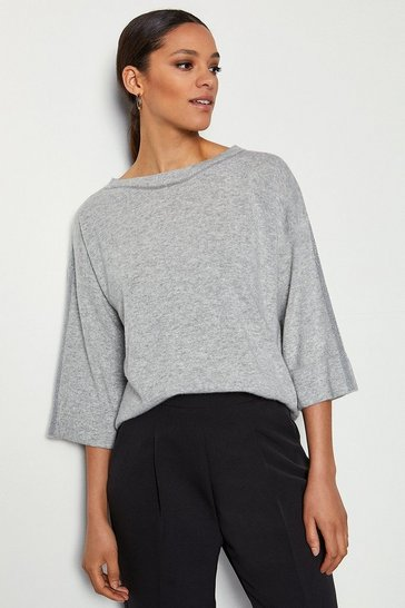 Pale grey Stripe Kimono Jumper