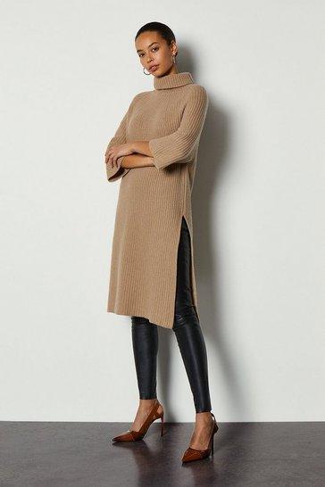 Camel Roll Neck Cashmere Mix Jumper Dress