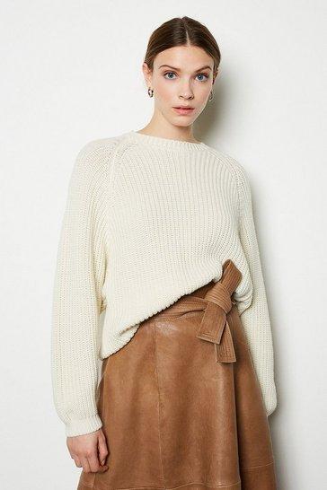 Ivory Wool Blend Oversized Rib Jumper