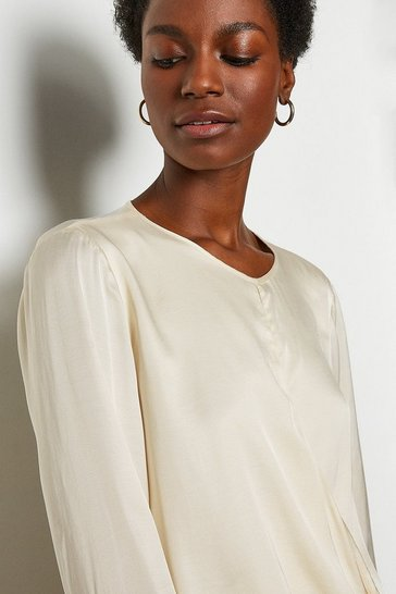 Ivory Wrap Front Blouse
