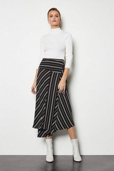 Blackwhite Wrap Front Striped Skirt