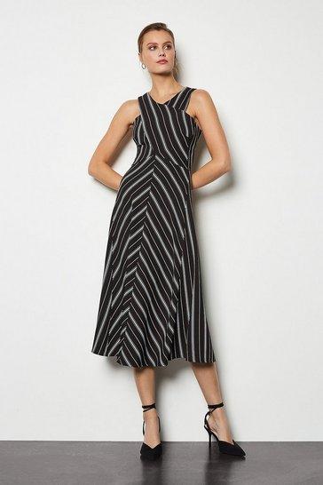 Blackwhite Cross Front Striped Midi Dress
