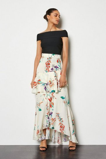 Ivory Watercolour Floral Skirt