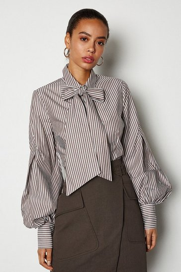 Brown Bow Front Blouse