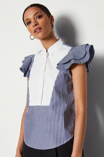 Navy Short Sleeve Bib Front Shirt