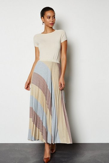 Multi Striped Pleat Knitted Skirt
