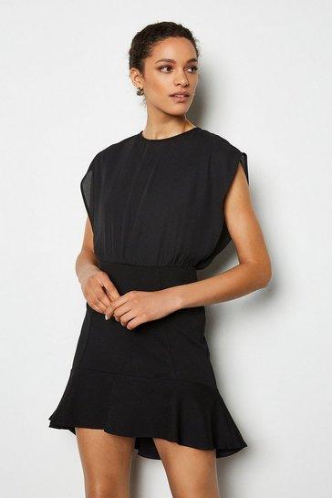 Black Tailored Flip Hem Stretch Dress