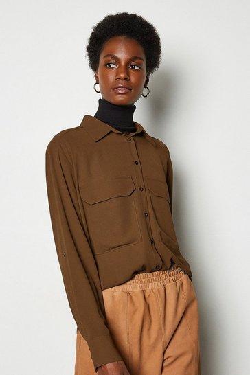 Rust Long Sleeve Utility Shirt
