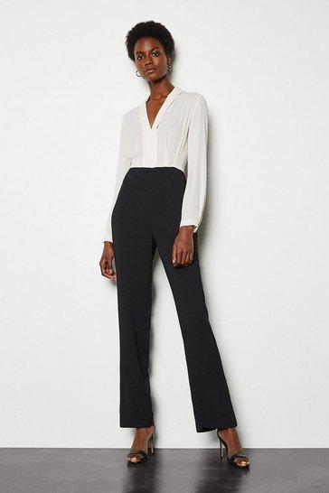 Black Tuxedo Tailored Jumpsuit