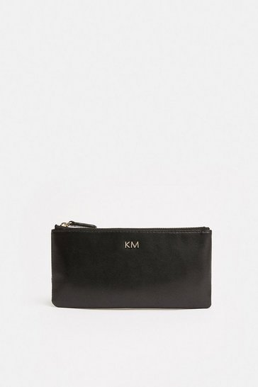 Black Large Faux Leather Zip Purse