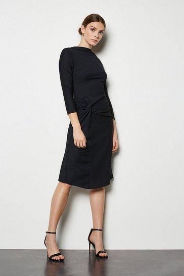 Black Drape Textured Jersey Dress