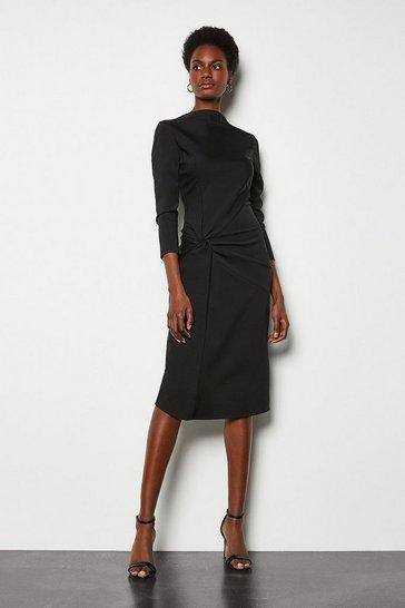 Black Drape Jersey Dress