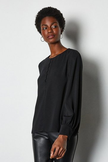 Black Blouson Sleeve Button Neck Blouse