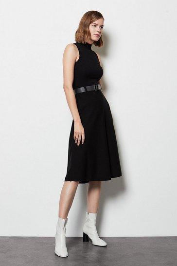 Black Belted Midi Knit Dress
