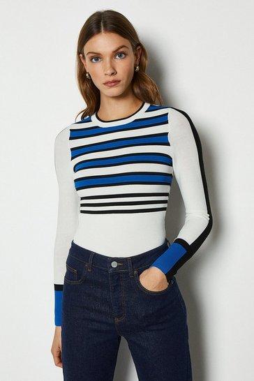 Blue Bold Stripe Knit Jumper