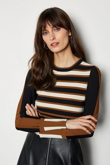 Ivory Bold Stripe Knit Jumper