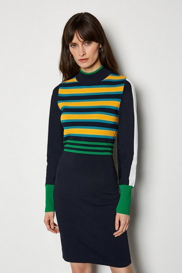 Green Bold Stripe Knit Dress