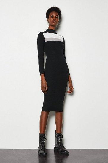 Multi Colour Block Rib Knit Dress