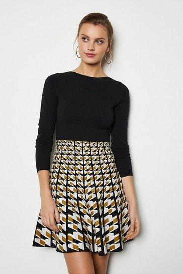 Tan Geo Knit Dress