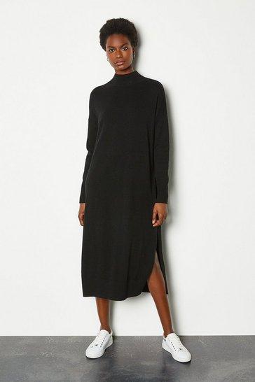 Black Cashmere Blend Oversized Midi Dress