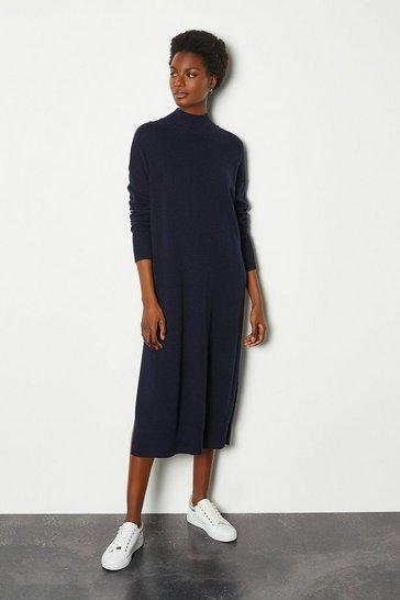 Navy Cashmere Blend Oversized Midi Dress