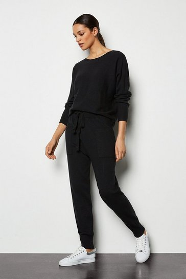 Black Knit Soft Yarn Cuffed Joggers
