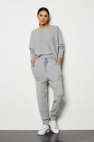 Grey Knit Soft Yarn Cuffed Joggers