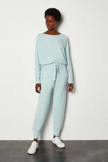 Pale blue Knit Soft Yarn Cuffed Joggers