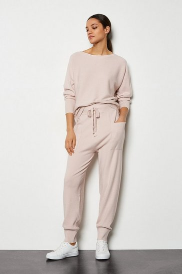 Pink Knit Soft Yarn Cuffed Joggers