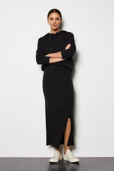 Black Soft Yarn Pencil Knit Midi Skirt