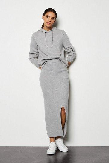 Grey marl Soft Yarn Pencil Knit Midi Skirt
