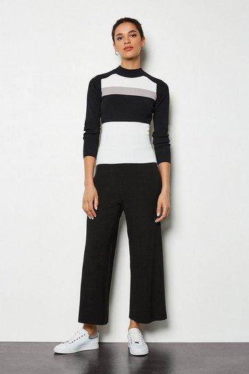 Black Soft Yarn Wide Leg Knit Trousers