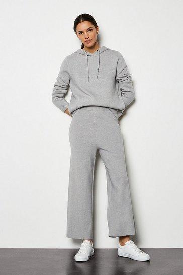 Grey marl Soft Yarn Wide Leg Knit Trousers