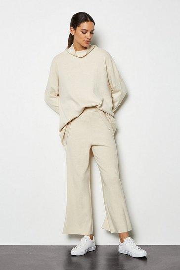 Oatmeal Soft Yarn Wide Leg Knit Trousers