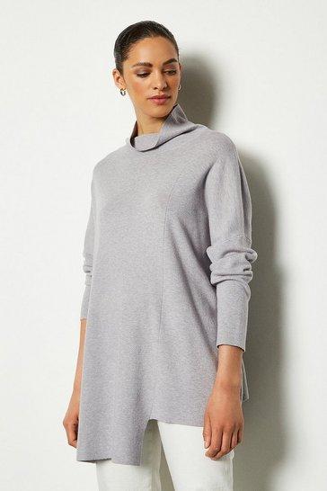 Grey marl Soft Yarn Long Sleeve Oversized Jumper