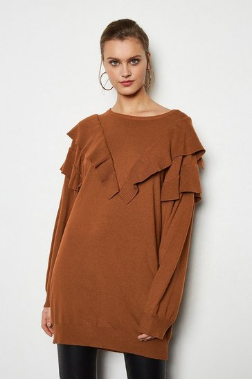 Tan Ruffle Long Sleeve Long Jumper