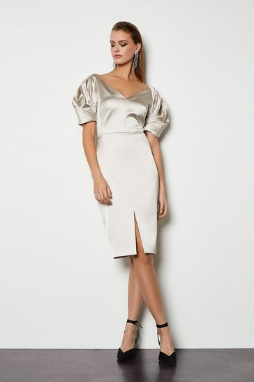 Champagne Puff Sculptural Sleeve Dress