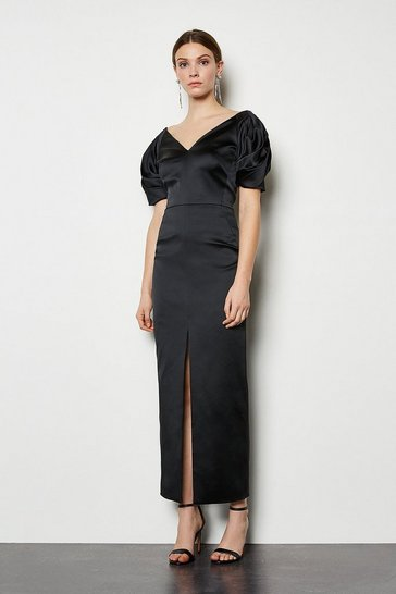 Black Puff Sleeve V Back Maxi Dress