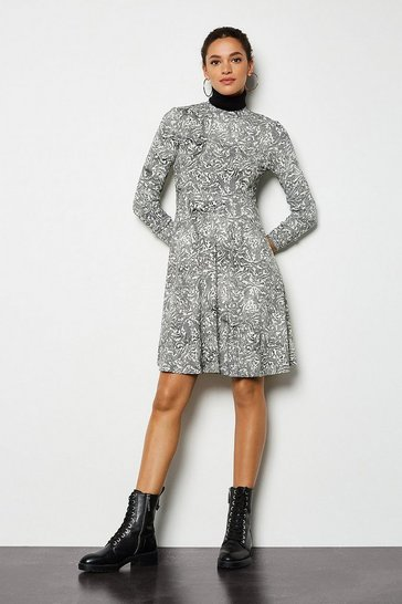 Blackwhite Printed Mini Flared Dress