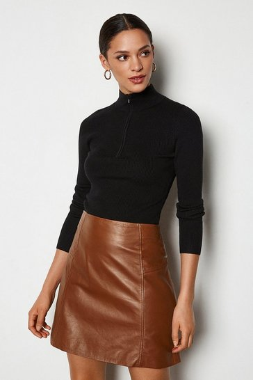 Tan Leather Mini Skirt