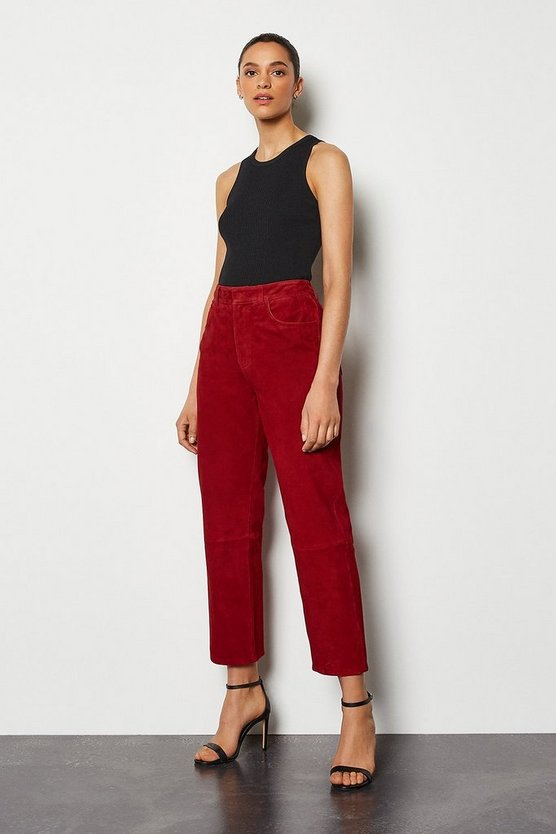 Red Suede Straight Leg Trouser