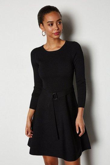 Black Full Skirted Belted Knit Dress