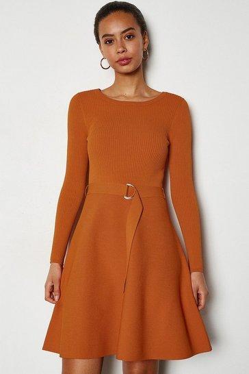 Rust Full Skirted Belted Knit Dress
