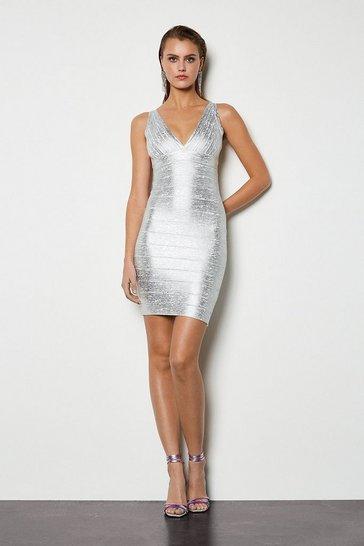 Silver Metallic Bandage Knit Bodycon Dress